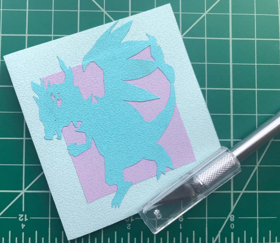 Mega Charizard X Papercut Card by craftsbyblue
