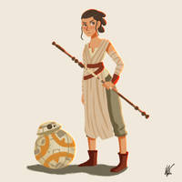 Rey and BB-8 by nyatche