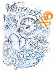 Sketch clock n brass knuckle by WillemXSM