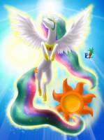 Princess Celestia Soaring Sun by fluffycawwot