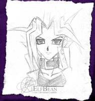 Sketchbook pg.16 - Yami Yugi by ElfBean