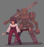 Sword Girl and Sword Bot by Nerd-Scribbles