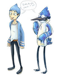 Mordecai humanized by Tornadotrailer