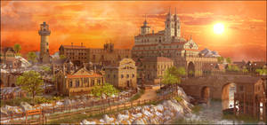 Sunset Medieval Town by MarcMons007