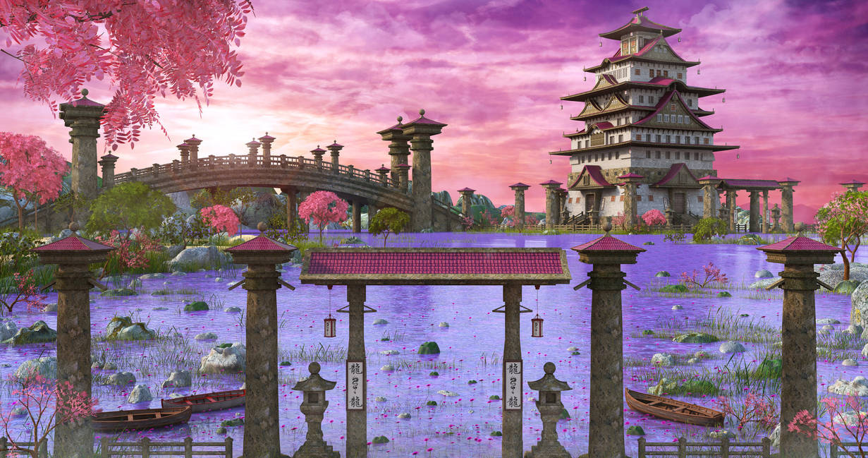 Asian Fantasy Landscape by MarcMons007