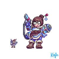 Mei-Ling Overwatch pixel by kajinman