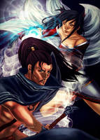LOL - Yasuo and Ahri by K-yon