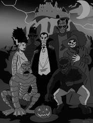 Universal Monsters Black and White by CountBedlam