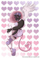 Demon Girl Pinup - Hearts by flailingmuse