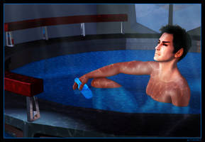 Tantomus In a Hot Tub Drinking Something Blue by mylochka