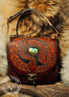 Rattlesnake and Labradorite Tooled Leather Purse by EastCoastLeather