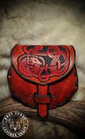 Leather Sporran Belt Bag Norse Dragon Knotwork by EastCoastLeather