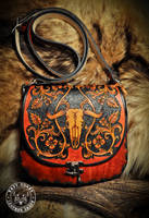 Leather Purse Western Cow Skull by EastCoastLeather