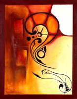 deco red - original painting by lizardartworks