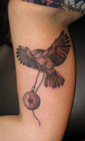 bird with compass by Mythos-Tattoo