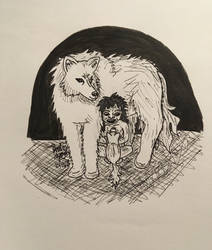 Inktober 2018: The Wolf-Boy by erbyderby24
