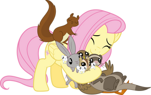 Animal Hug - Fluttershy by Vulthuryol00