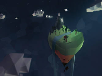 Flying Island - Low Poly by Lenuk