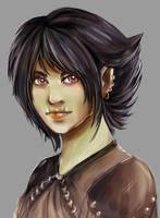 Pathfinder half-orc - female by Khaneety