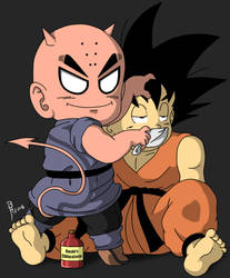 Devil form Krillin chloroforms Goku by BrynHexx