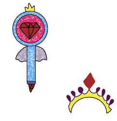 Matilda's wand and crown by SingMoonBeaEmoji