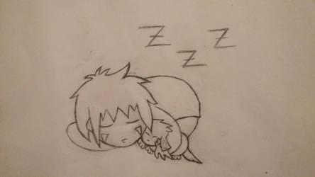 Sleepy Kiba Inuzuka and Akamaru (Uncolored) by Aya406