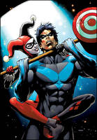Nightwing VS Harley Quinn by FlowComa