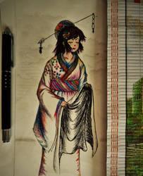 pen and color pencil: Kimono by vt2000