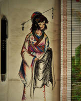 pen and color pencil: Kimono by vt2000