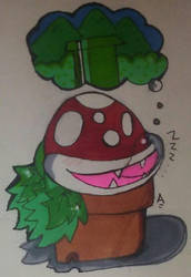 Piranha plant Sleeping doodle by CartoonistNerd