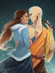 Katara and Aang by nekokonut