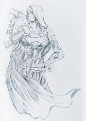 Supergirl Relaxing - Pencil by ellinsworth