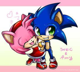 chibi Amy and chibi Sonic by Extra-Fenix