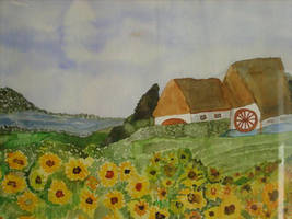 landscape with sunflowers by ingeline-art