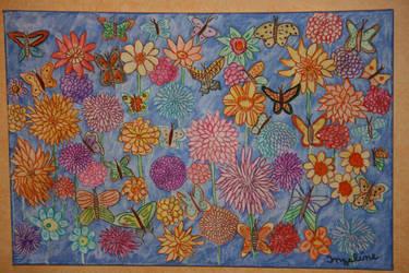 butterflies in dahlia garden by ingeline-art