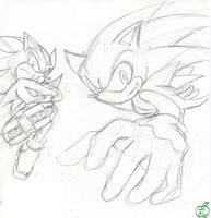 Sonic and Shadow_Sketch by maruringo