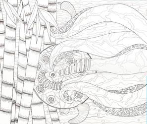 Calamari111 - Line Drawing by peggymintun