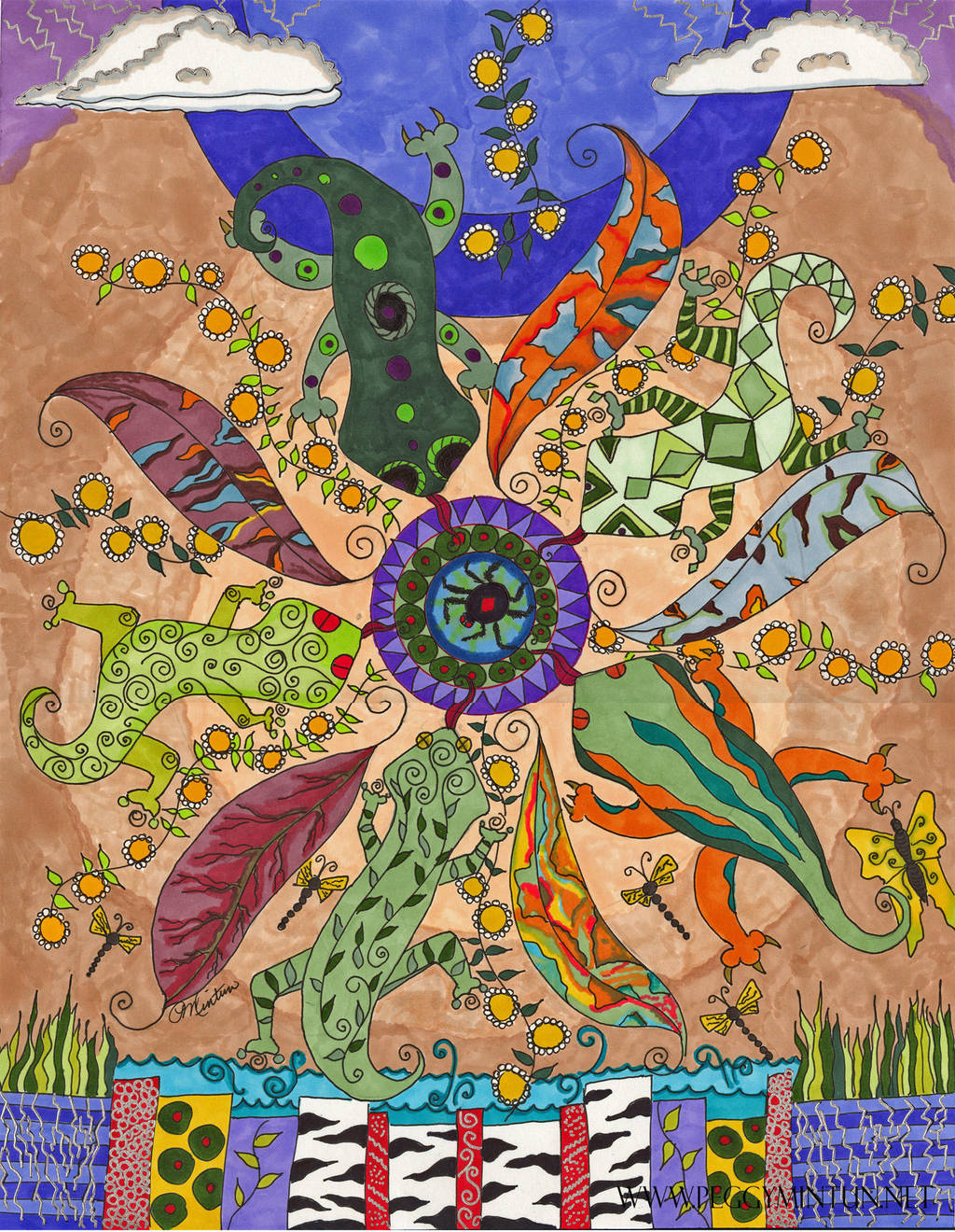 Lizard Mandala by peggymintun