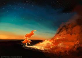 Flame Princess running away by pin100