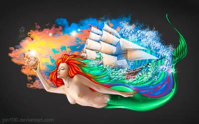 Mermaid Graffiti by pin100