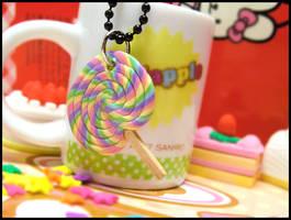 Rainbow Lollypop Necklace by GrandmaThunderpants