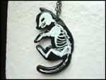GLOWING cat skeleton necklace by GrandmaThunderpants