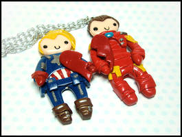 Iron Man + Captain America BFF Necklace Set by GrandmaThunderpants
