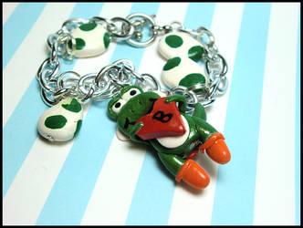 Custom Yoshi Bracelet by GrandmaThunderpants