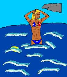 Bikini clad girl in ocean. by Oradan