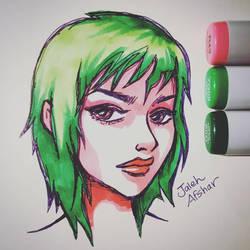 Green Hair Girl by jaleh