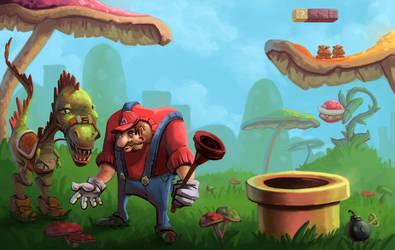 Mario and Yoshi Redesign by antonio-panderas