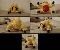 Joltik crochet plush multiple views (with pattern) by ListenMagician