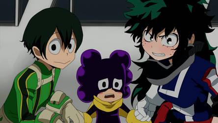 Tsuyu, Mineta and Midoriya genderbend by Fuko99