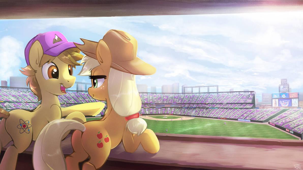 Commission - Dawnen Dusk and AJ enjoying Baseball by FidzFox